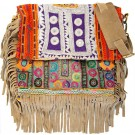 Camel-color Boho Chic Fringed Messenger Bag FRONT
