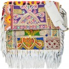 Taupe Boho Chic Fringed Messenger Bag FRONT