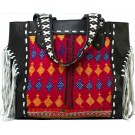 Black Leather & Vintage Fabric Tote with Fringe FRONT