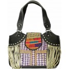 Black Leather & Vintage Fabric Bag w/Taupe Fringe