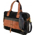 Suede & Leather Black Messenger/Laptop Bag