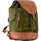 Suede & Leather Olive & Black Backpack