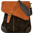 Suede & Leather Unisex Brown Crossbody Bag