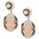 Vintage Ivory Rose Earrings w/Pink Center
