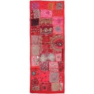 Coral Vintage Fabric Hand-Beaded Rectangular Table Runner