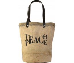 Teach Peace Recycled Military Tent Tote