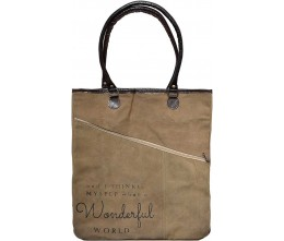 It's a Wonderful World Assymetric Zipper Tote