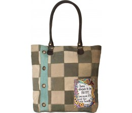 I Chose Happy Tent Patchwork Tote