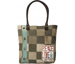 Peace, Love, Coffee Tent Patchwork Tote