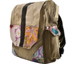 Recycled Military Tent Backpack with Vintage Fabric Trim
