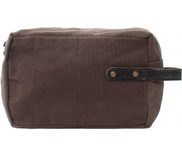 Chocolate Recycled Military Tent Shaving Bag FRONT