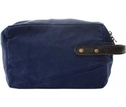 Navy Blue Recycled Military Tent Shaving Bag FRONT