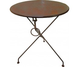 Rust Round Metal Folding Table