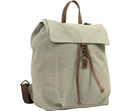 Ash Grey Canvas Backpack with Leather Trim FRONT