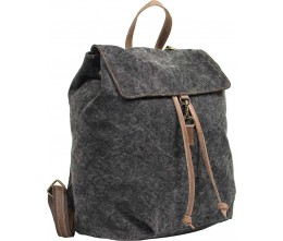 Charcoal Black Canvas Backpack with Leather Trim FRONT