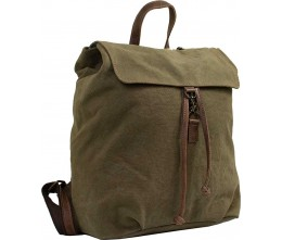Olive Green Canvas Backpack with Leather Trim FRONT