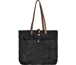 Large Charcoal Jute Tote