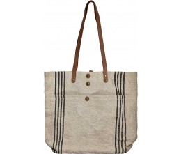 Large Natural w/Black Stripes Jute Tote