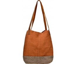 Brown & Persimmon Bucket Tote