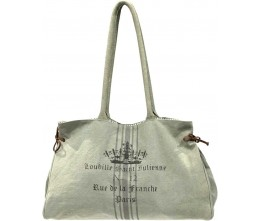 Ash Grey Paris Label Canvas Tote