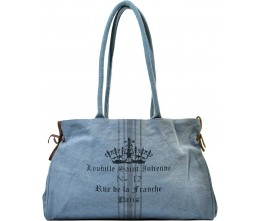 Sky Blue Paris Label Canvas Tote