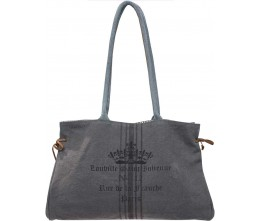 Stonewash Grey Paris Label Canvas Tote