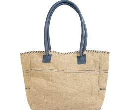 Natural/Navy Jute Shoulder Bag FRONT