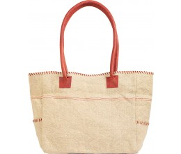 Natural/Red Jute Shoulder Bag FRONT