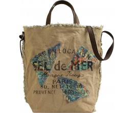 Wonderful World Recycled Military Tents Market Tote FRONT