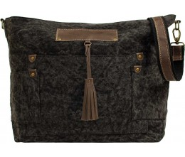 Charcoal Canvas Crossbody FRONT