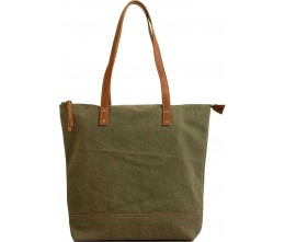Olive Green Canvas Tote FRONT