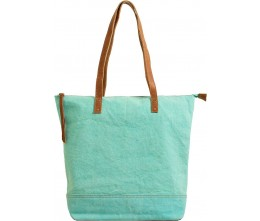 Turquoise Canvas Tote FRONT