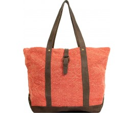 Peach Jute Shoulder Bag FRONT