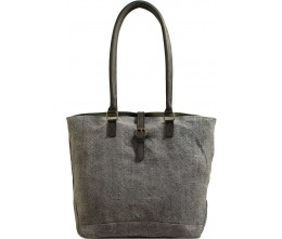 Charcoal Jute Tote Bag FRONT