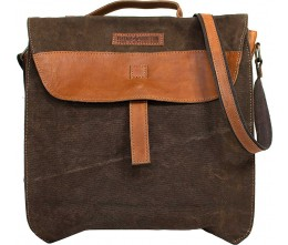 Brown Canvas Crossbody/Laptop Bag FRONT