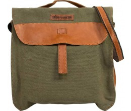 Olive Green Canvas Crossbody/Laptop Bag FRONT