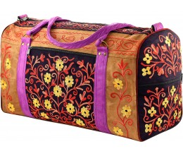 Honey & Black Embroidered Suede Weekend Travel Bag Handcrafted in Nepal