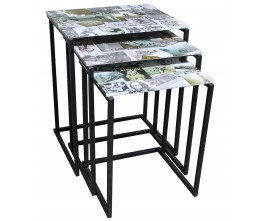 Photo Collage Set of 3 Nesting Tables