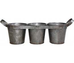 Triple Metal Planter with Handles