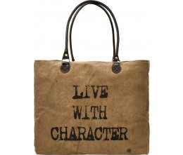 Live With Character Recycled Military Tents Market Tote