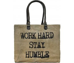 Work Hard, Stay Humble Recycled Military Tents Market Tote