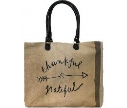 Thankful & Grateful Recycled Military Tents Market Tote