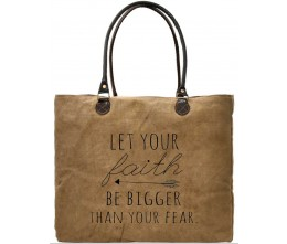 Faith Bigger Than Fear Recycled Military Tents Market Tote FRONT