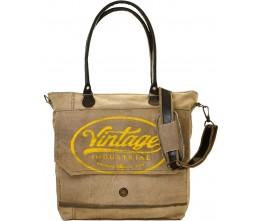 Yellow Vintage Industrial Print Tote/Messenger Bag