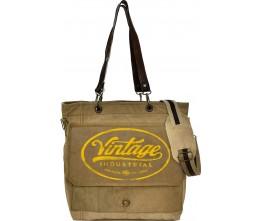 Yellow Vintage Industrial Print Crossbody/Messenger Bag