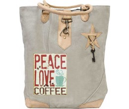 Peace, Love Coffee Canvas Tote