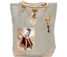 Pinup Cowgirl Canvas Tote