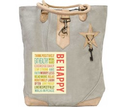 Be Happy Canvas Tote