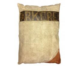 Large Rectangular Pillow w/Leather Appliqué