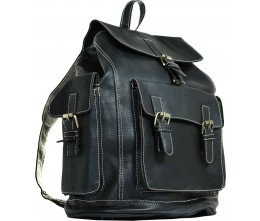 Marrakesh Black Leather Backpack FRONT